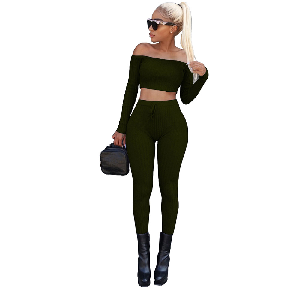 Free Ostrich 2019 Sexy Bodycon Bandage Women Sets Off Shoulder Criss Cross Crop Top Long Pants Two Piece Set Clothing C2235