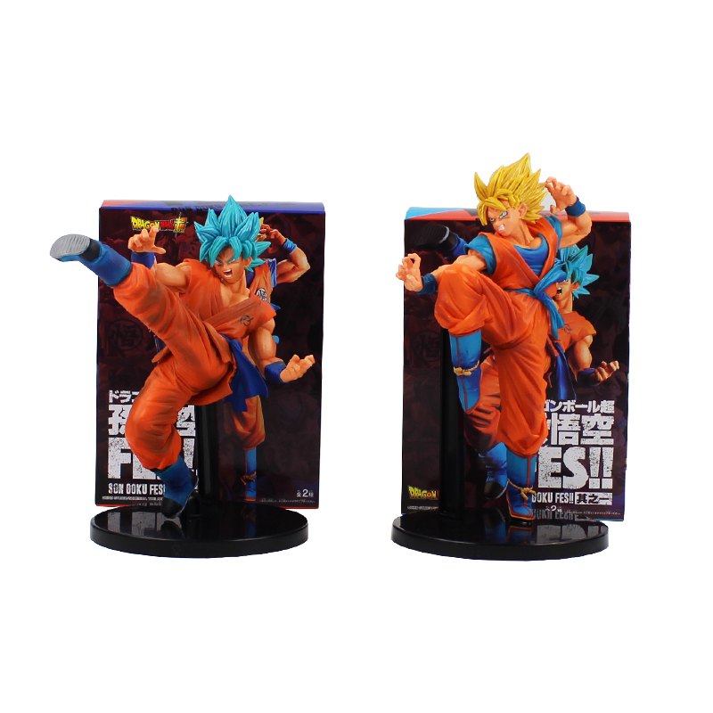 22cm Anime Dragon Ball Z FES Goku Figure Toys Super Saiyan God Goku Blue Hair Battle Ver PVC Action Figure Model Toys Best Gift 1pc lot chocolate goku anime dragon ball z figure super saiyan pvc action figures brinquedos collectible model kids toys 29cm
