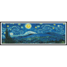 Van Gogh Starry sky night scenery Dmc Cross Stitching DIY Needlework Knitting