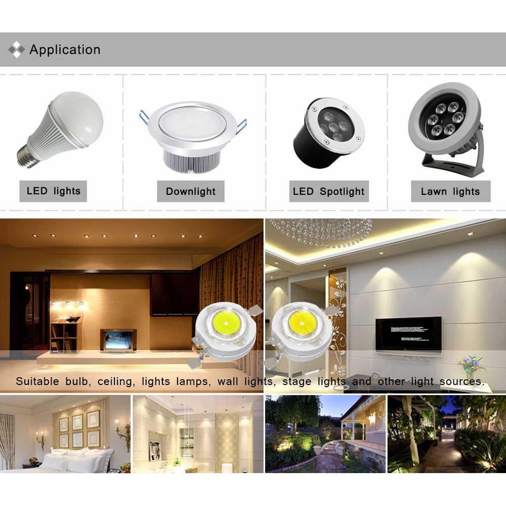 10/100/1000 Uds. Real Full Watt CREE 1W 3W de alta potencia LED lámpara perlas SMD 110-120LM LED Chip para DIY proyector Downlight lámpara bombilla