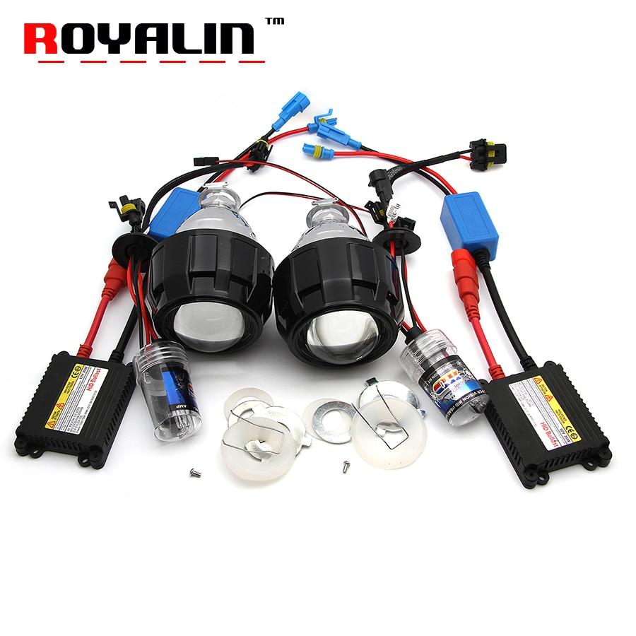 ROYALIN 2.5 мини-Би-Ксеноновые HID объектив проектора фары набор лампы Н1 переменного тока тонкий балласт контроллер реле жгут проводов для H4, Н7 машины поделки