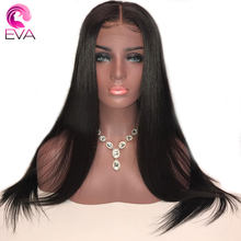 EVA Straight Silk Base Full Lace Wigs Pre Plucked With Baby Hair 150% Density Silk Top Full Lace Human Hair Wigs Brazilian Remy(China)