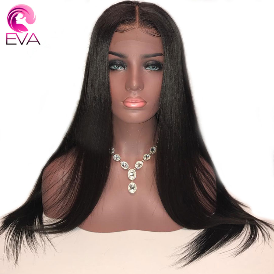 EVA Straight Silk Base Full Lace Wigs Pre Plucked With Baby Hair 150% Density Silk Top Full Lace Human Hair Wigs Brazilian Remy