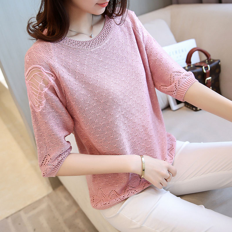 HSPL Summer Half Sleeve Mesh Pullover Tops Women 2018 Fashion Cool Silk Knitwear Elegant Pink Vintage Crochet Pull Femme Hiver