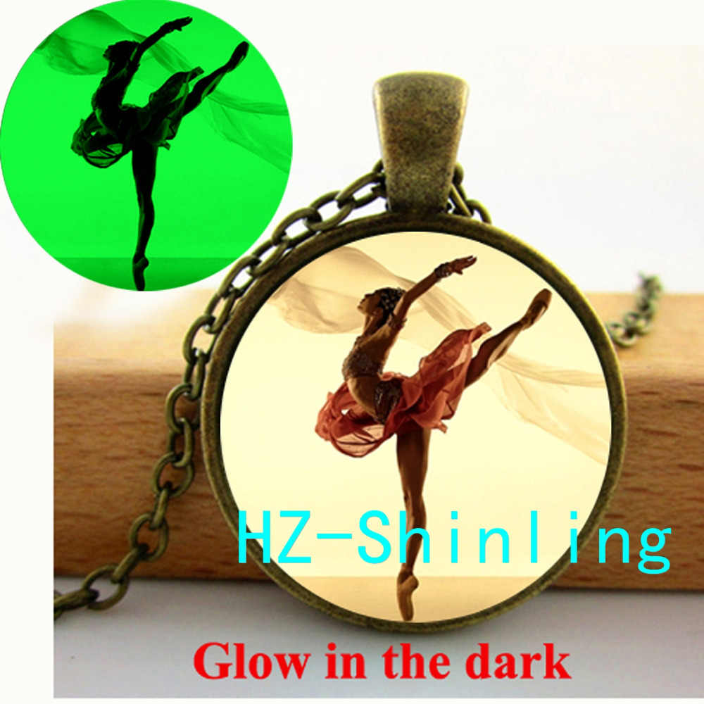New Fashion Glow in The Dark The Australian Ballet Necklace Beautiful Ballerina Glowing Pendant Glass Cabochon Necklace