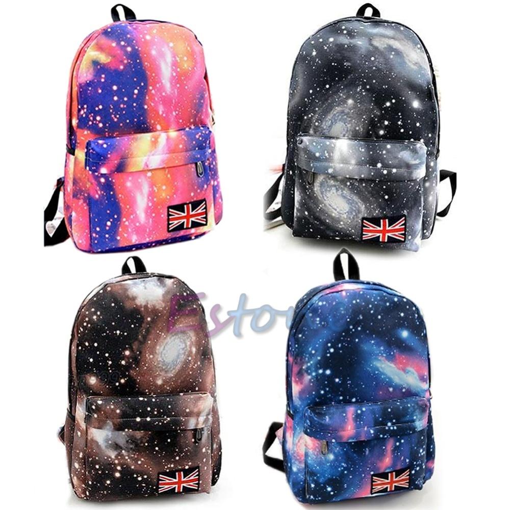 New Unisex Galaxy Space Bookbag Travel Rucksack School Bag Satchel Backpack ...