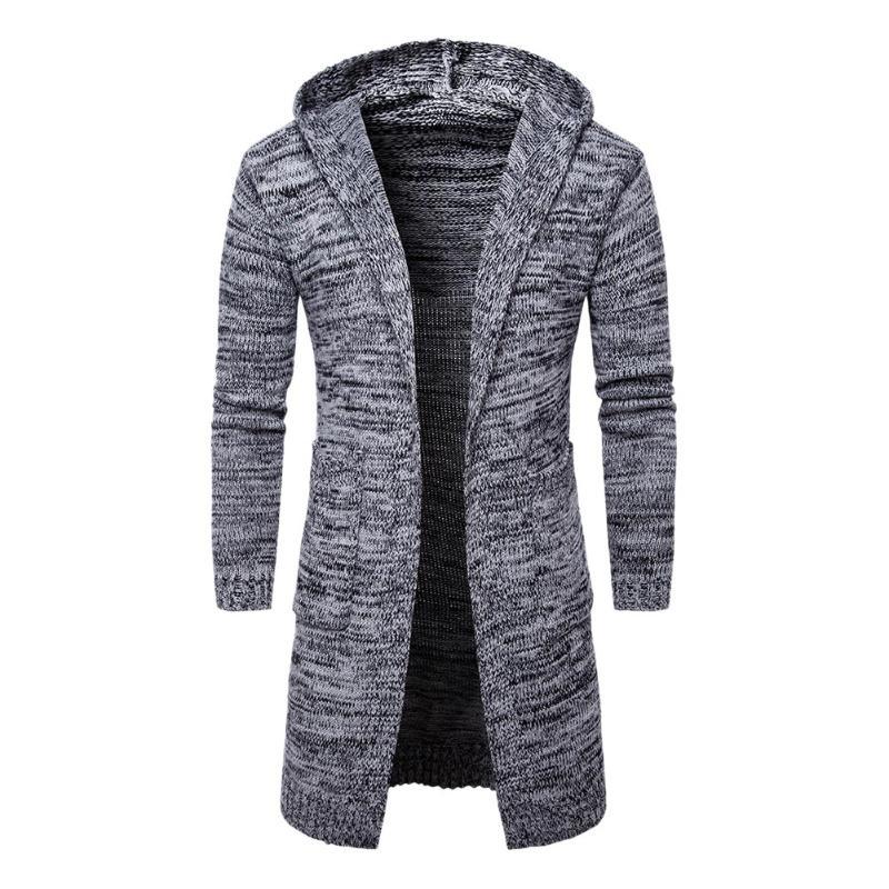 Men Hooded  Cardigan Long Sleeve Sweaters