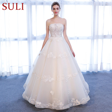 SuLi SL-164 Sexy Strapless Beads 3D Floral Wedding Dress