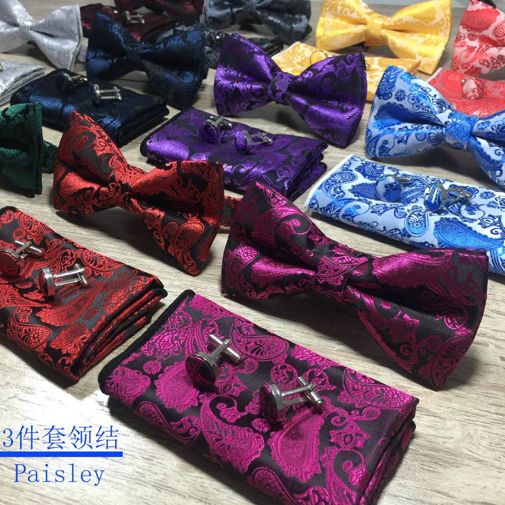 RUBY VICKY Men's Bow Tie Gold Paisley Bow Tie Business Wedding Bow Knot Blue And Black Bow Ties For Groom Party Accessories