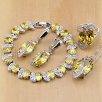 Trendy 925 Sterling Silver Bridal Jewelry Yellow Created Topaz Jewelry Sets For Women Earrings Pendant Necklace