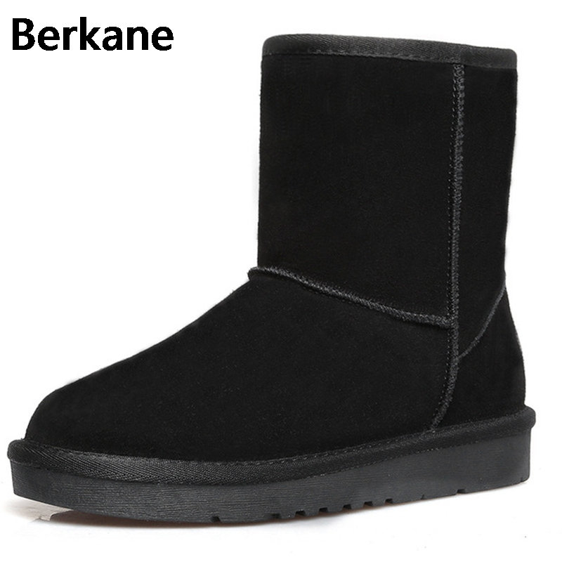 Snow Boots Women Waterproof Australia Slip On Brand 2017 New Warm Winter Suede Flat Shoes Solid Color Fur Sapatos Femininos Hot 2017 sales of the most popular hot winter boots women ug australia boots women slip warm women s boots in the snow size 34 44
