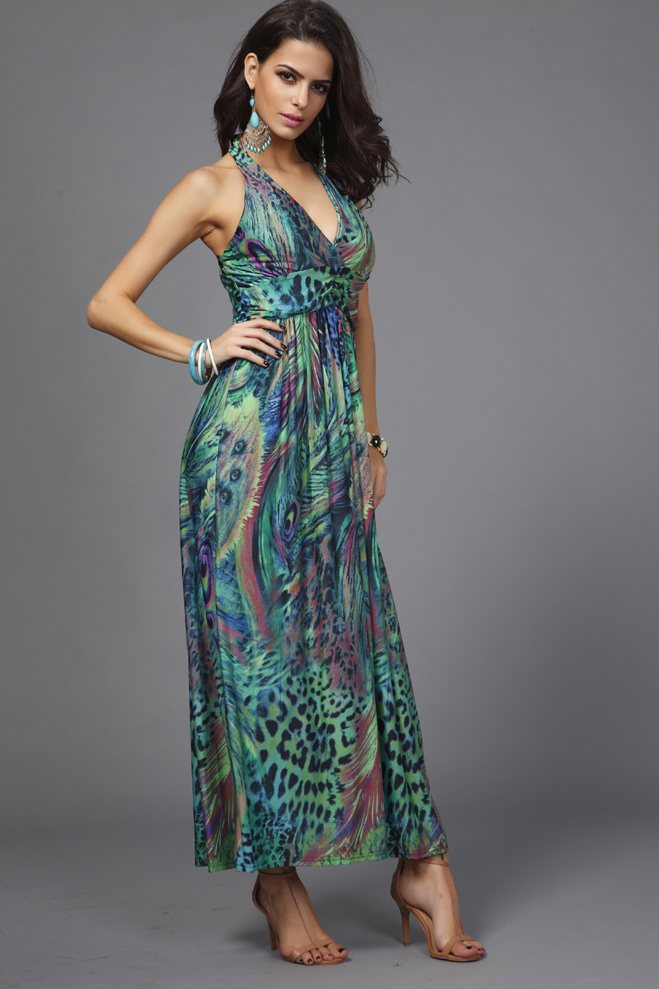 42719ac5fdf794 Milk Silk Chiffon Dresses Slim Waist Halter V neck Peacock Printing  Colorful Bohemia Sleeveless Long Beach Dress-in Dresses from Women's  Clothing on ...