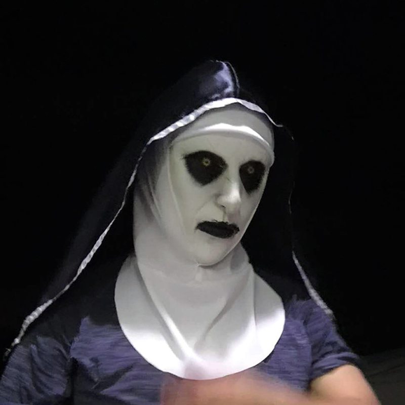 new The Nun Horror Mask Cosplay Valak Scary Latex Masks With Headscarf Full Face Helmet Halloween Party Props The Conjuring 2018