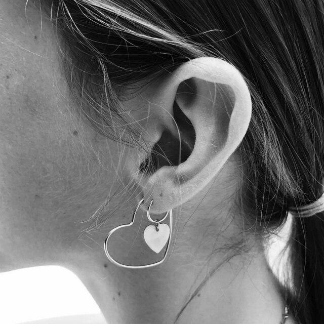 Новые женские серьги с сердечком персикового цвета, серьги-кольца, популярные золотые серьги, оптовая продажа, серьги для женщин, модные ювелирные изделия