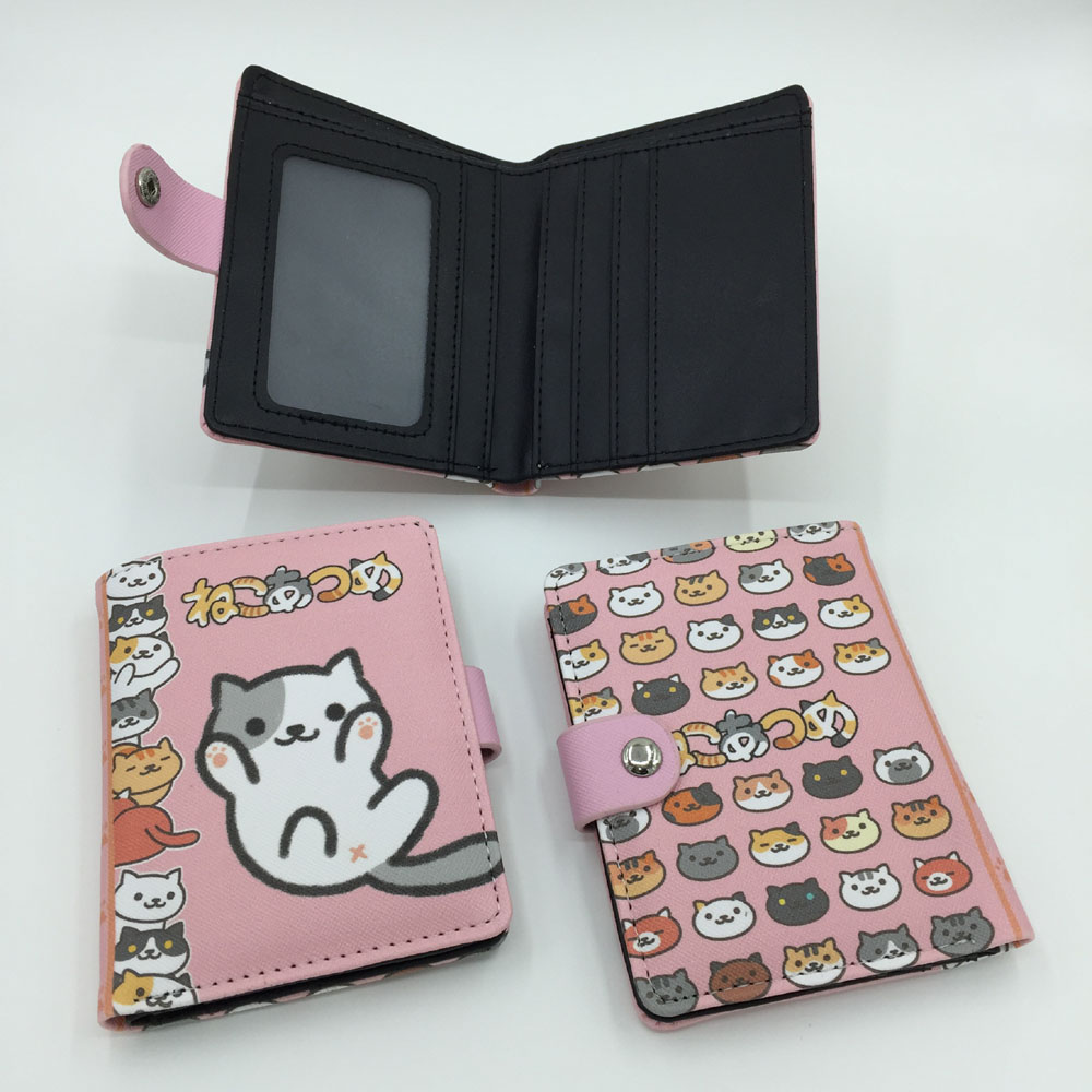 Japanese Game Neko Atsume Synthetic Leather Exquisite Button Wallet/Purse mebelvia beauty sleep via flex standart 140х190