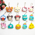 Creative Gift Cartoon Animal Silicone Hello Kitty Mickey Key Cover Key Cap Cute Keychain Women Key Chain Key Ring Key Holder