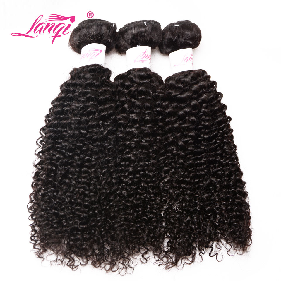 Lanqi Hair Peruvian Kinky Curly Weave Human Hair Weave 3 Bundles Deal Cheap Double Weft Non