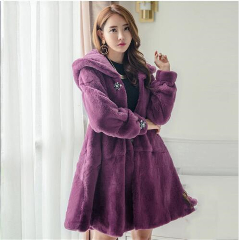 Diamond Stone High Quality Natural Rex Rabbit Fur Coats Women Loose Fit Oversize Hooded A Line Winter Real Fur Jackets Plus Size