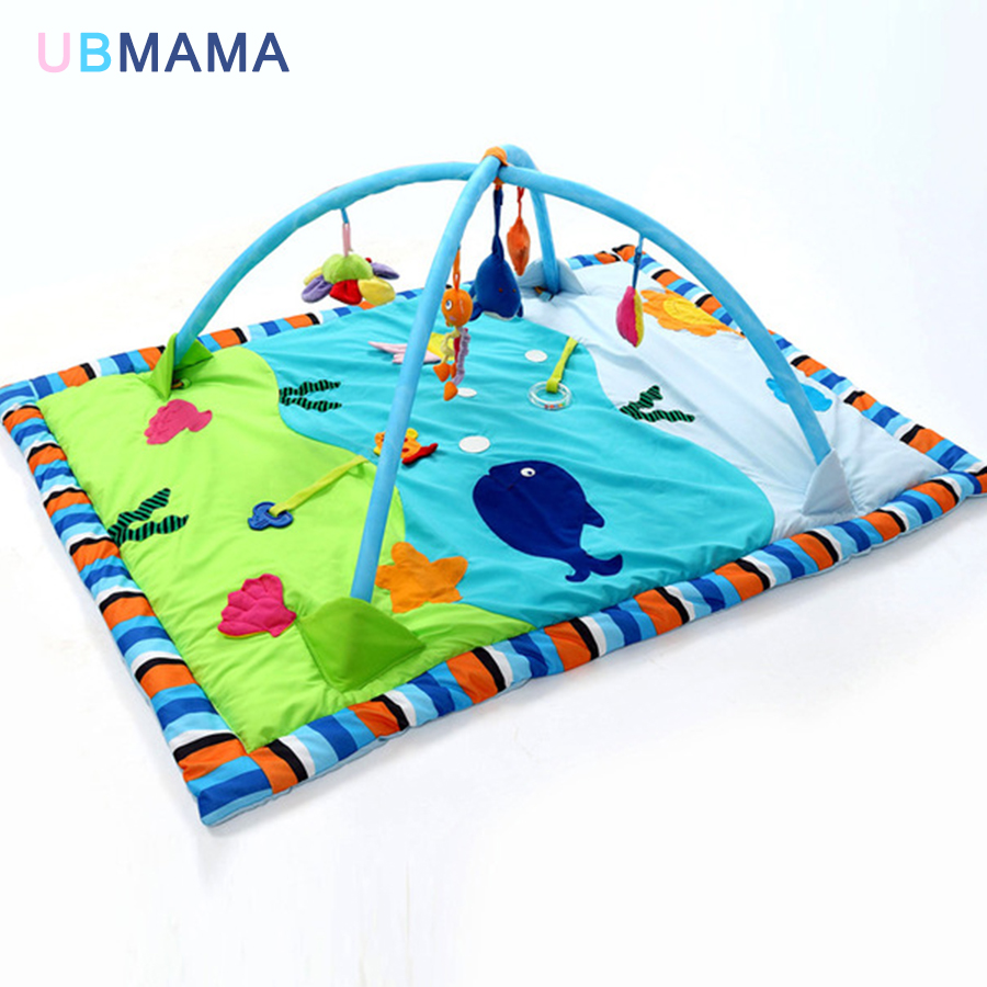 Extended Sea Pattern Baby Game Blanket Game Mat Baby Fitness Rack Children's Toys With Support Crawling Blanket