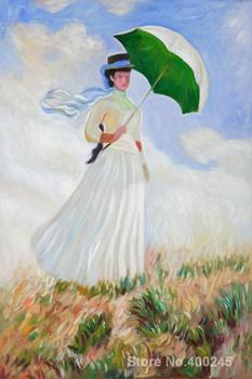 Claude Monet art collection Woman with a Parasol Facing Right oil Painting canvas High quality Hand painted
