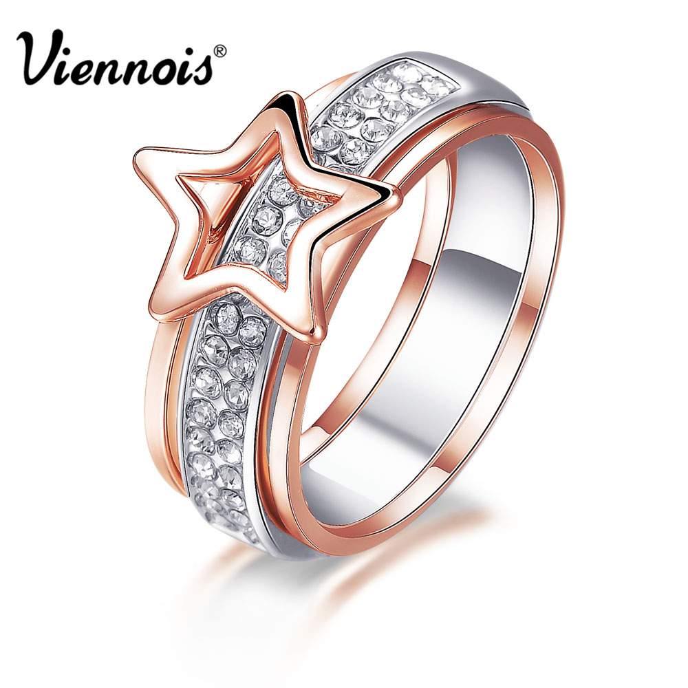 Viennois New Rose Gold & Silver Color Star Size Rings for Women Full Rhinestone Paved Female Finger Ring Multifunctional Jewelry