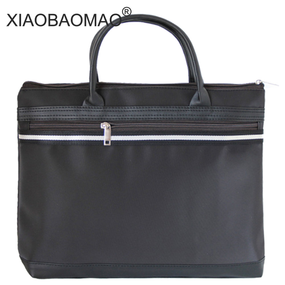XIAOBAOMAO Canvas Business Commercial Document Bag Meeting Office Bags Tote File Folder Filing Pocket Zipper A4 Large Capacity