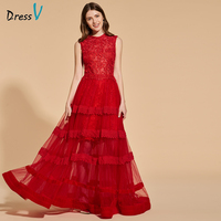 Dressv Red Legant Long Prom Dress Scoop Neck Sleeveless Floor Length Evening Party Gown A Line