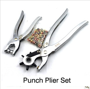 Free shipping revolving  eyelet plier set  with 100 pcs shoe eye button eyelet plier tool  hole 2/5/3/3.5/4/4.5/5mm