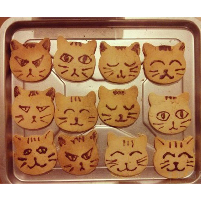 CAT face shape baking cookie molde cakestainless acero Marcos cocina ...