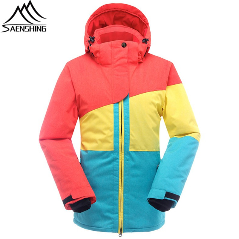 SAENSHING Ski Jacket Women Winter Snowboard Snow Jacket Super Warm Patchwork Color Waterproof Outdoor Female Coat Skiing Clothes hot sale women ladies snowboard jacket waterproof breathable ski jacket female winter snow coat sport motorcycle anorak clothes