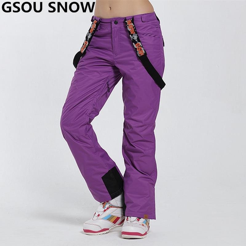 Gsou neige hiver Ski pantalon femmes imperméable Skis pantalon respirant thermique dames Snowboard pantalon solide motif 7 couleurs XS-L