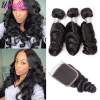 Upretty Hair Brazilian Hair Weave Bundles With Closure 3 Bundles Remy Human Hair Loose Wave Bundles