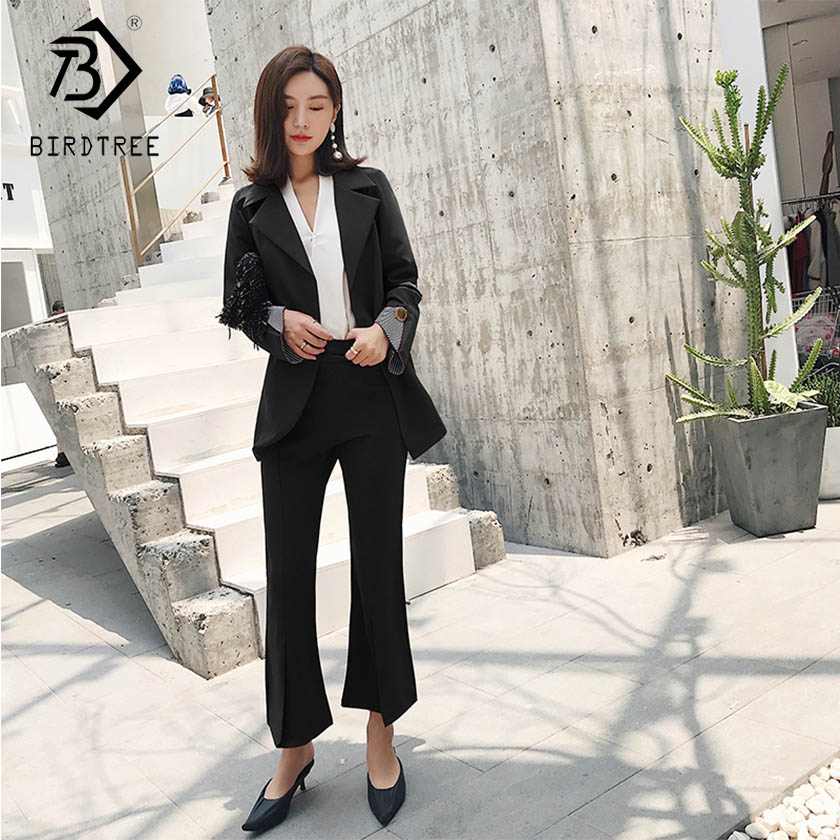 Women's Patchwork Pant Suits Long Sleeve Notched Sashes Rings Top Zipper Pockets Pants Office Lady 2019 Fashion S91442J