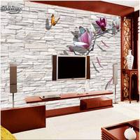 Beibehang 3d Magnolia Wall Wall White Wall Background Wall Custom Large Fresco Non Woven Fabric Wallpaper
