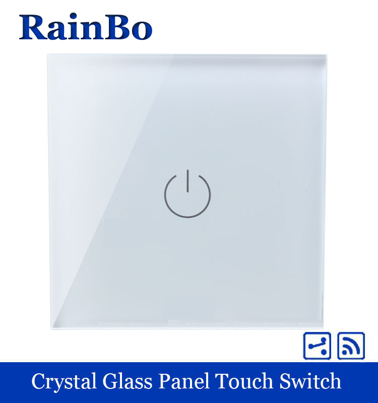 rainbo Crystal Glass Panel smart Switch EU Wall Switch 110~250V Remote Touch Switch Screen Wall Light Switch 1gang2way A1914W/B welaik crystal glass panel switch white wall switch eu remote control touch switch light switch 1gang2way ac110 250v a1914w b