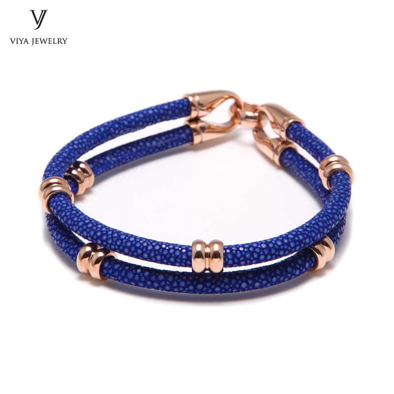 simple beads stingray leather bracelet for men ,couple stingray beads bracelets (3)