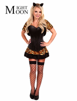 Miss Tiger Cosplay Women Carnival Costumes Sexy Catwoman Costume Halloween Adult Black Leopard Corset Jacket Skirt
