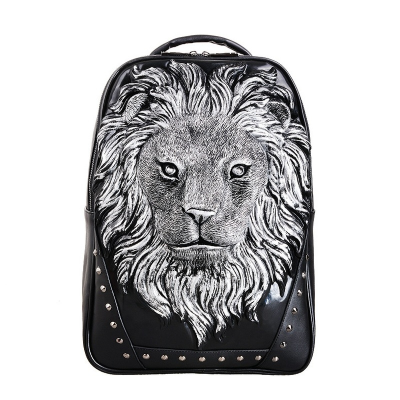 ФОТО 3D Tiger Animal Print Cartoon PU Leather Backpack Bookbag Men Trendy Casual Day pack Funny Kids School bags Teens 16''