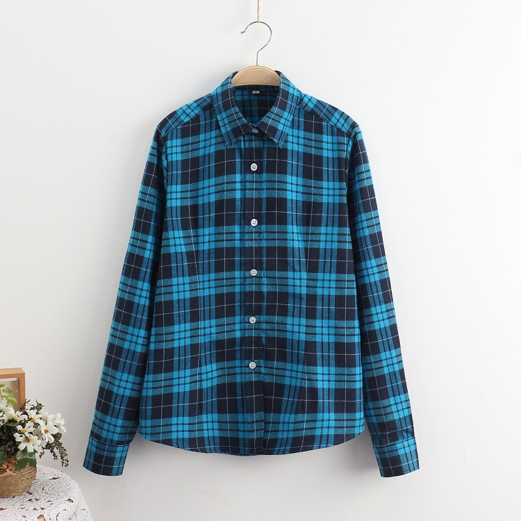 2018 Fashion Plaid Shirt Female College Style Women's Blouses Long Sleeve Flannel Shirt Plus Size Casual Blouses Shirts M-5XL 27