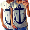 New Women Summer Letter Print Anchor Short Sleeve Large Size Loose Cotton T-shirt