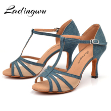 Ladingwu New Denim And Net Latin Dance Shoes Womans Comfort Professional Salsa Dancing Cuba Heel sandals