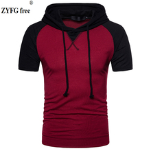 Casual Hooded t shirt Raglan sleeves Male fashion Tees 2018 O-neck short-sleeved patchwork color slim t-Shirt men EU size Tops snap fastener embellished color spliced v neck short sleeves t shirt for men
