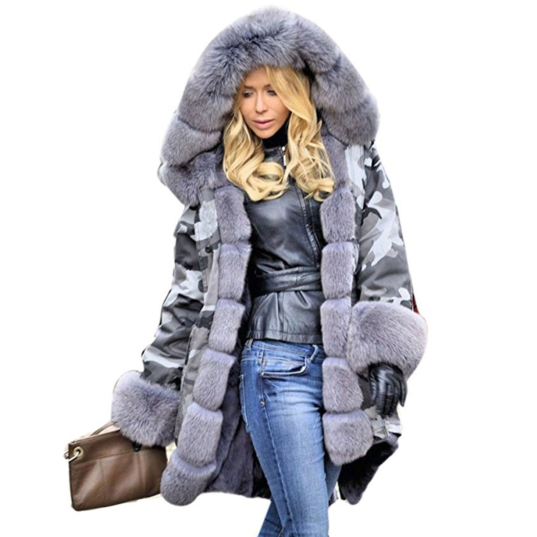 Fashion Camouflage Long Coat Parka Women Winter Big Faux Fur Collar Thick Warm Hooded Jacket Female Plus Size Parkas Outerwear snow wear 2017 winter jacket women warm thick long hooded cotton padded parkas causal female big faux fur collar jacket coat
