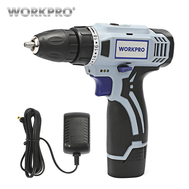 WORKPRO 12V Household Electric Cordless Drill Lithium-Ion Battery Cordless Drill DIY Wireless Electric Drill Power Driver Drill