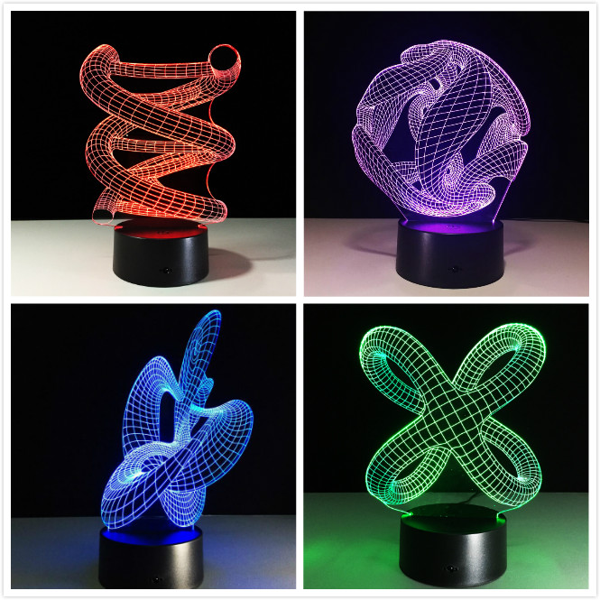 3D DNA LED Night Lamp ABS Touch Base Abstract Spiral Bulb Lamp LED Night Light Table Illusion Home Bar Desk Decorative Lava Lamp