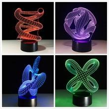 3D adn LED lampe de nuit ABS tactile Base abstraite spirale ampoule lampe LED veilleuse Table Illusion maison Bar bureau décoratif lampe de lave