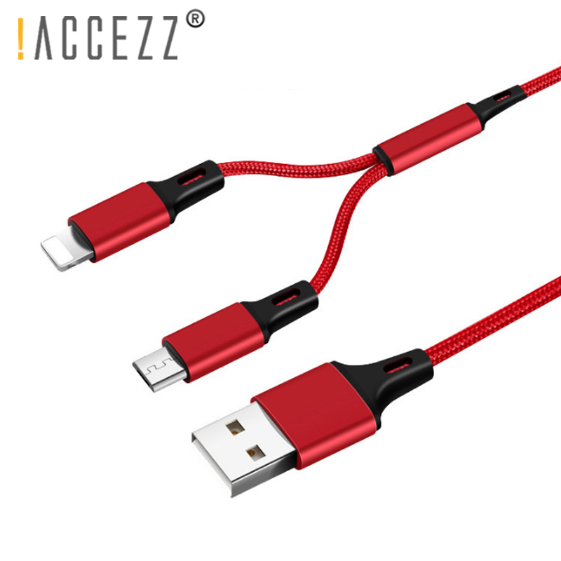 !ACCEZZ Nylon Charger Cable Lighting For iPhone X 7 8 XR Micro USB For Samsung S6 Edge Xiaomi Huawei 2 in 1 Fast Charging Cables