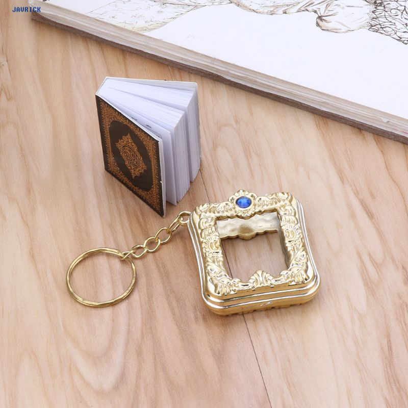 JAVRICK Mini Ark Quran Book Real Paper Can Read Arabic The Koran Keychain Muslim Jewelry