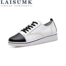 LAISUMK 2019 Autumn Women Casual Flat Sneakers Shoes Leather Flats Female Lace Up White Rubber Boat Oxford
