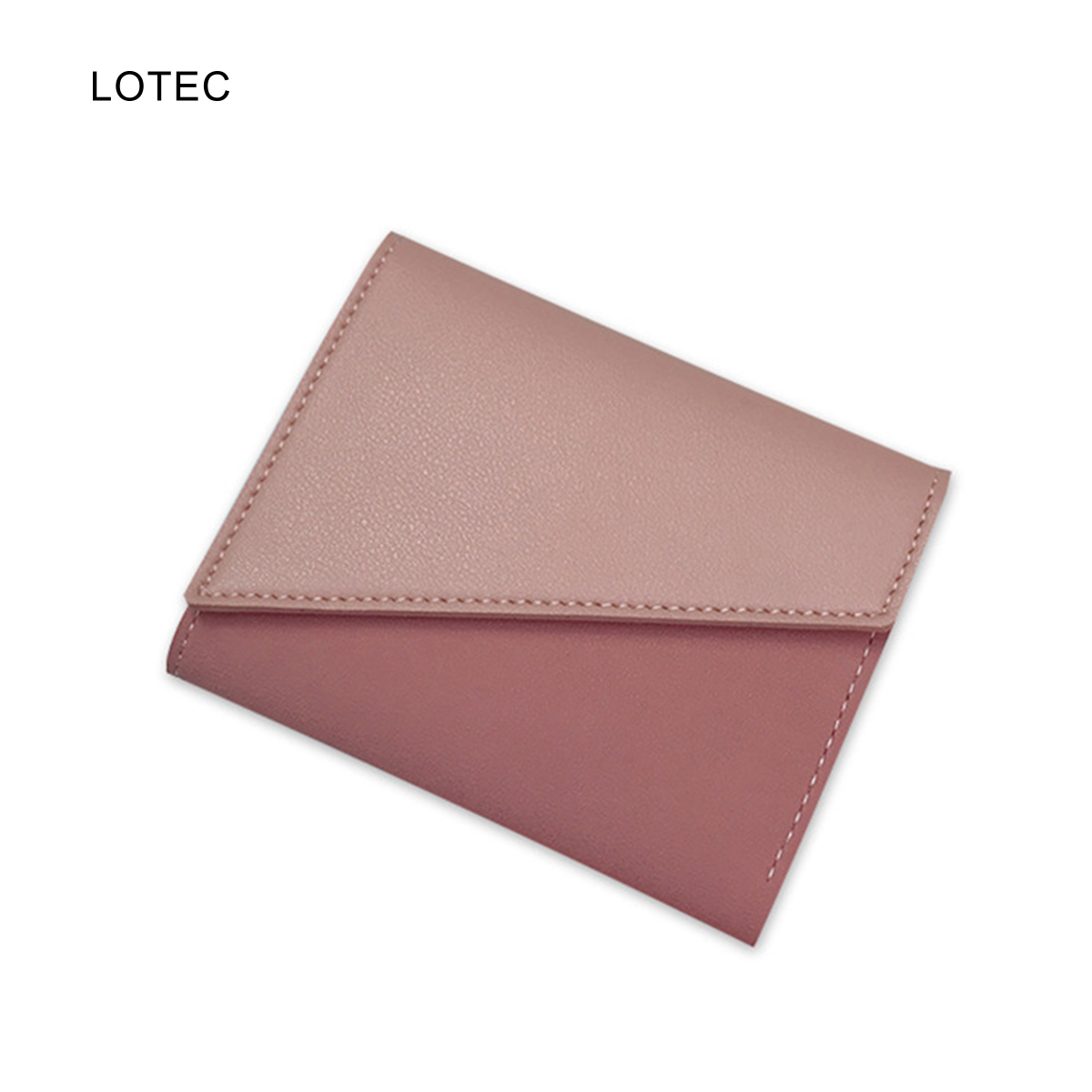 LOTEC Women Vintage PU Leather Mini Slim Wallet Case Female Short Trifold Thin Card Holder Minimalist Solid Coin Purse